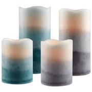 LED-Kerze Alfreda - Blau/Hellblau, MODERN, Naturmaterialien/Kunststoff (7,5/10cm) - Luca Bessoni