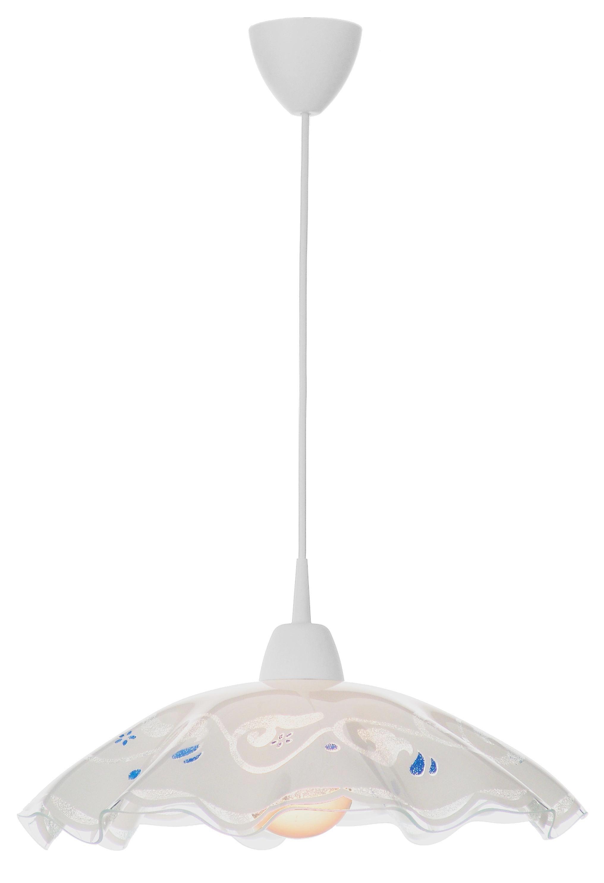 Hängeleuchte Riga - Blau/Weiß, KONVENTIONELL, Glas/Kunststoff (43/100cm) - OMBRA