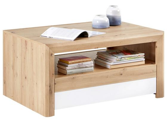 Konferenčný Stolík Kashmir New - farby dubu/biela, Moderný, kompozitné drevo (100/50/69cm) - James Wood
