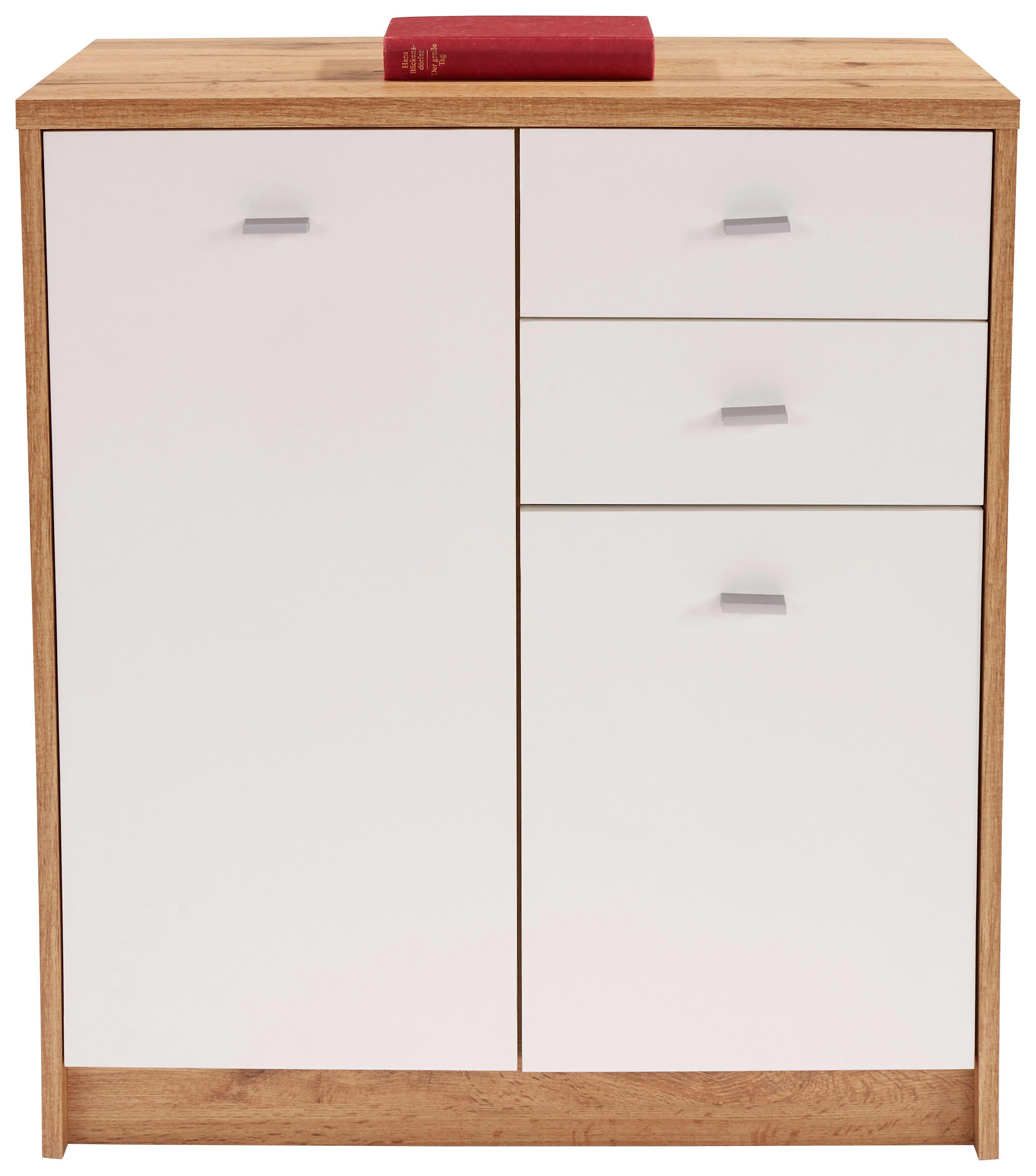 Komód 4-you New Yuk04 - tölgy színű/fehér, modern, faanyagok (74/85,4/34,6cm)