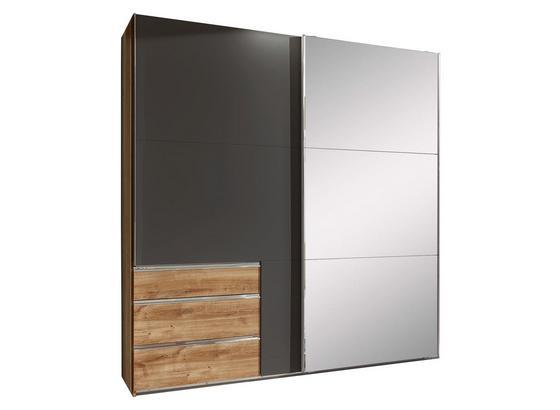 Schwebetürenschrank mit Spiegel 250cm Level 36a, Graphit Dekor - Eichefarben/Graphitfarben, MODERN, Glas/Holzwerkstoff (250/216/65cm)