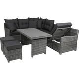 Greemotion Loungegarnitur Miami Comfort - Anthrazit/Grau, KONVENTIONELL, Glas/Kunststoff (192/245cm) - Greemotion