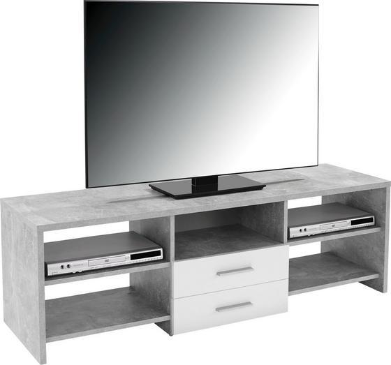 Médiaállvány Tico - fehér/szürke, modern, fa (150/45/40cm)
