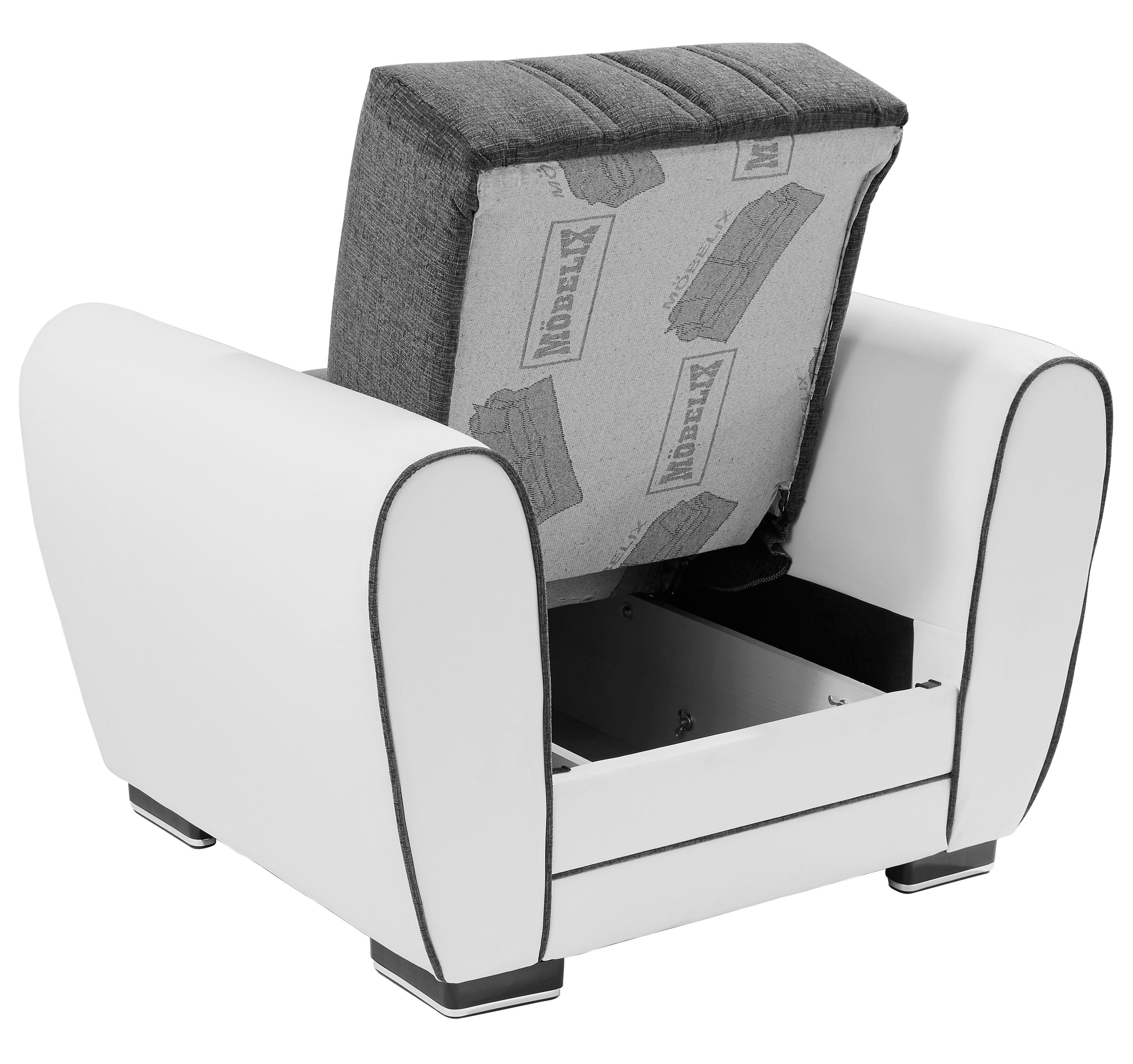 Jednomístný Sedák Pelin - bílá/šedá, Moderní, textil/dřevěný materiál (100/85/90cm)