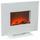 Elektrokamin 1400/1600w Weiß 2 Heizstufen Flammeff mit Fb - Weiß, Design, Glas/Metall (60/50,9/26cm)