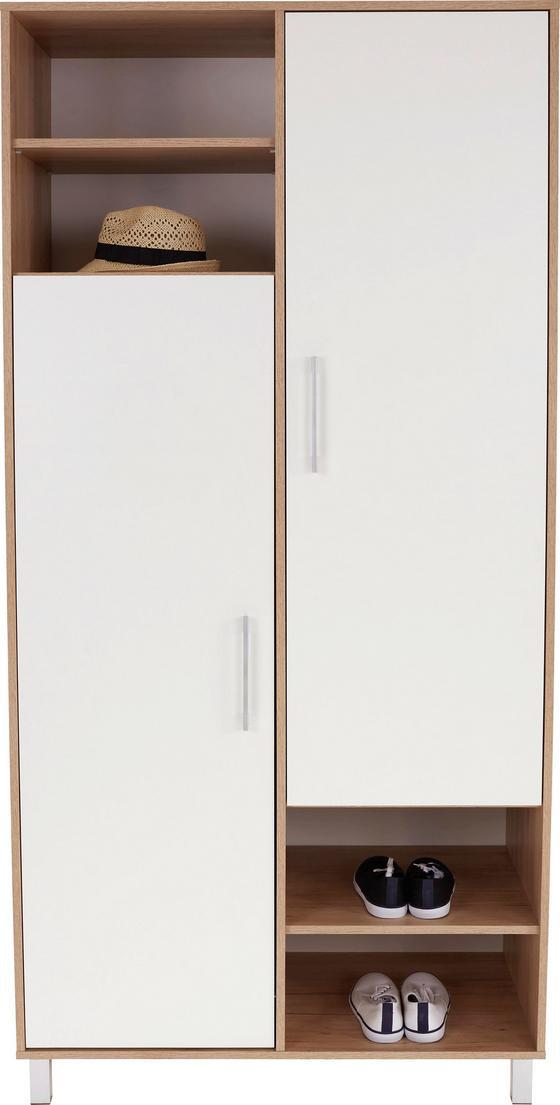 Ruhásszekrény Box - tölgy színű/fehér, modern, faanyagok (98/205/55cm)