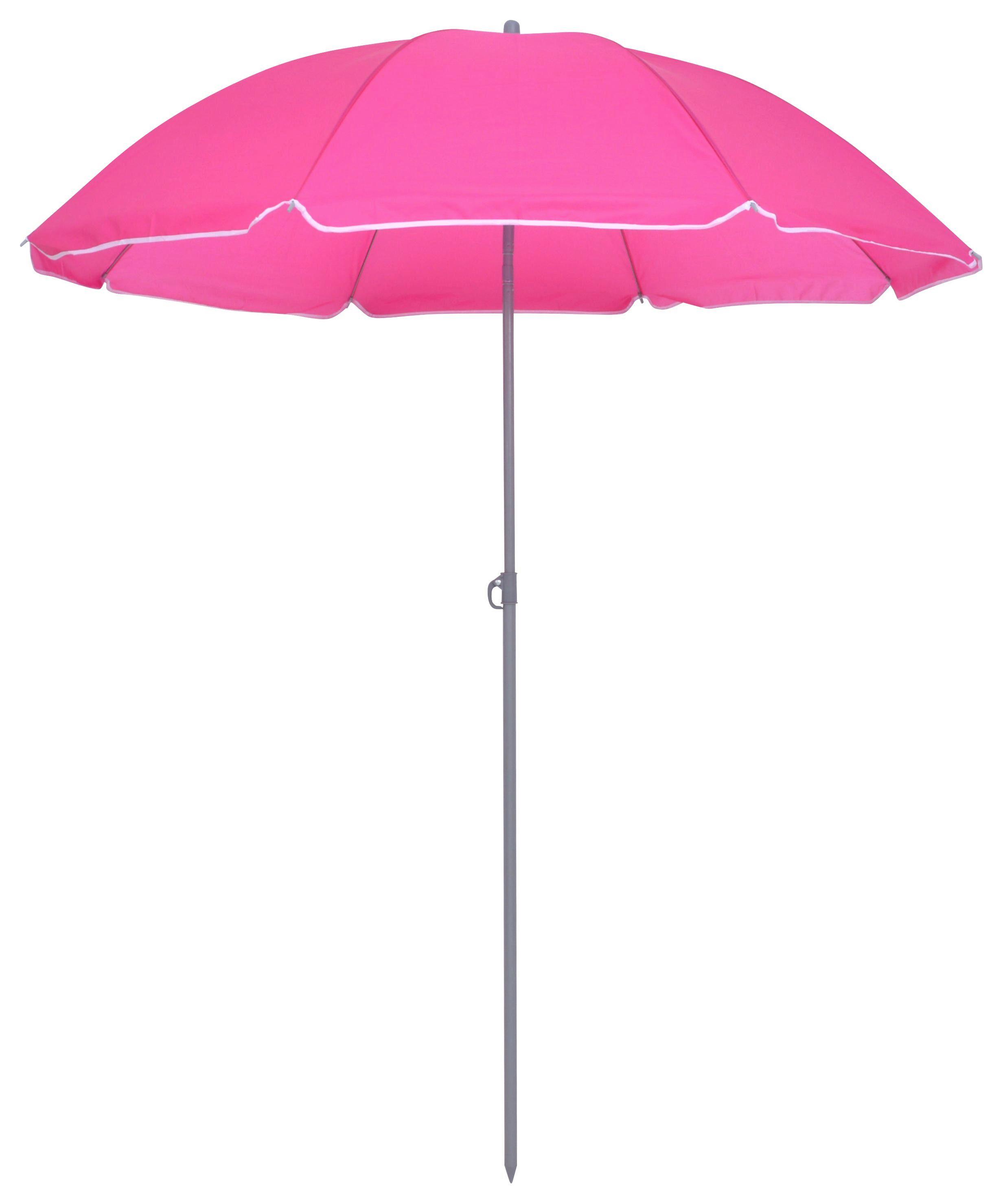 Sonnenschirm Sophie 180 - Pink/Anthrazit, KONVENTIONELL, Textil/Metall (180/190cm) - Ombra
