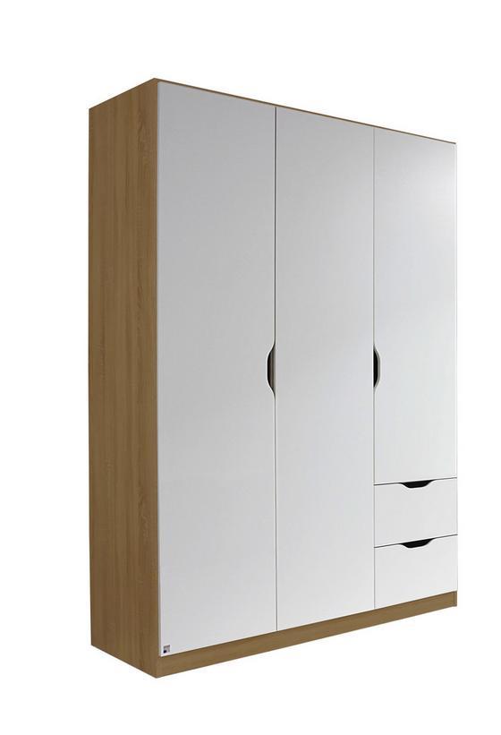 Kombischrank Freising 136 cm Eiche/Weiß - Eichefarben/Weiß, MODERN, Holzwerkstoff (136/197/54cm)