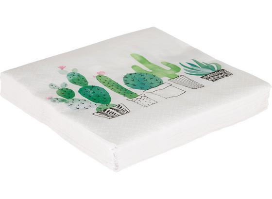 Servítky Cactus Garden - biela/smaragdovozelená, papier (33/33cm)