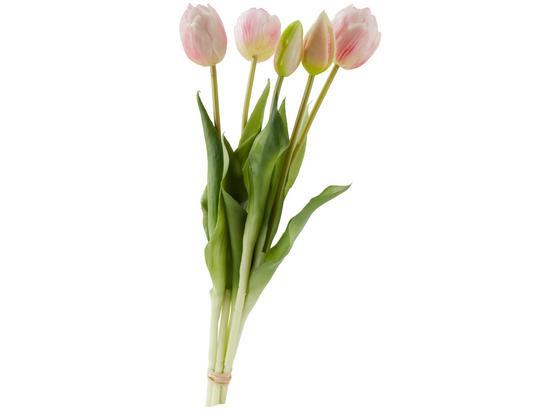 Květina Umělá Tulpen I - růžová/zelená, Romantický / Rustikální, kov/umělá hmota (39cm)