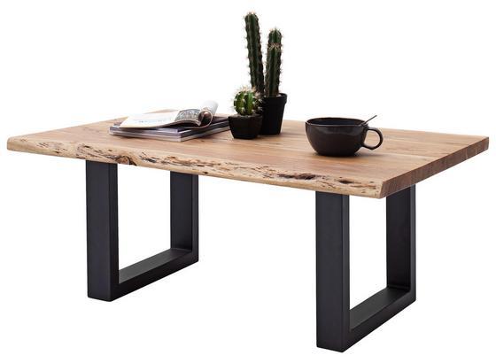 Couchtisch Holz mit Massiver Tischplatte Cartagena, Akazie - Anthrazit/Akaziefarben, MODERN, Holz/Metall (110/45/70cm)