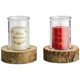 Kerze Im Glas Megan - Champagner/Rot, MODERN, Glas/Holz (12/15cm) - Luca Bessoni