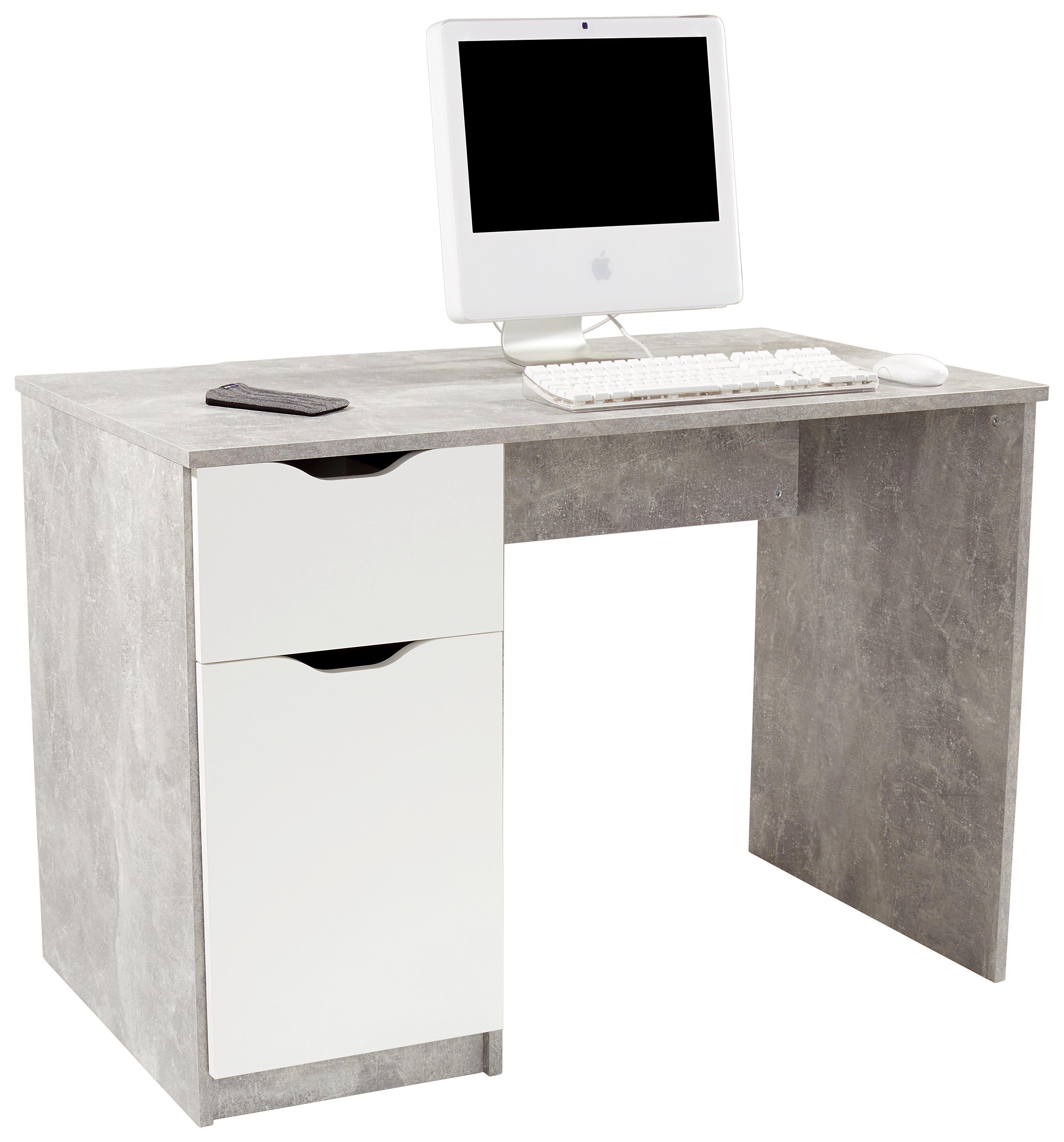 Íróasztal West 1 - fehér/szürke, modern, faanyagok (116,4/76/60cm)