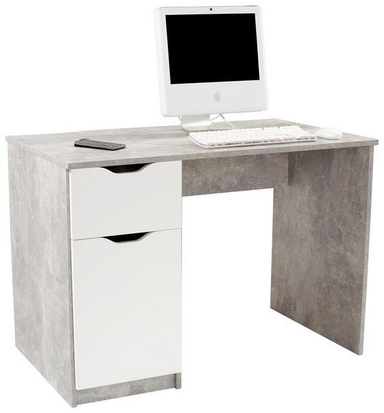 Íróasztal West 1 - Szürke/Fehér, modern, Faalapú anyag (116,4/76/60cm)
