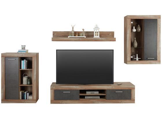 Obývacia Stena Jao - farby borovice/sivá, Moderný, kov/kompozitné drevo (298-318/196/41cm) - Modern Living