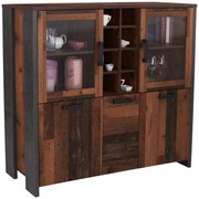 Highboard Clif B:151cm Old Wood Vintage/beton Dekor - Dunkelgrau, MODERN, Glas/Holzwerkstoff (151,4/127,9/41,6cm)