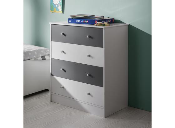 Komoda Brian - biela/svetlosivá, Moderný, kov/drevo (70/80/39cm) - Mömax modern living