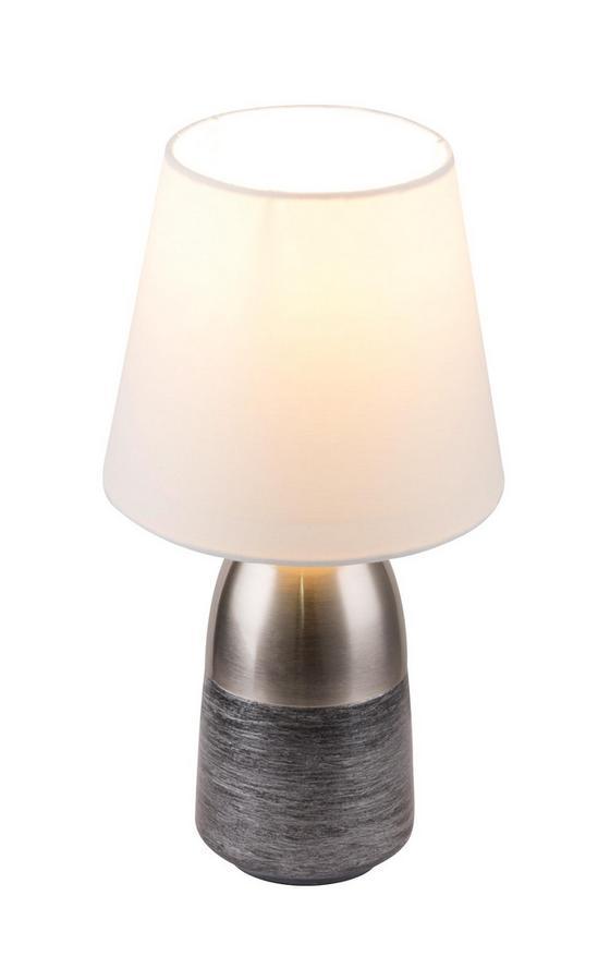 Tischleuchte H: 31 cm - Silberfarben/Schwarz, Basics, Textil/Metall (16/31cm)