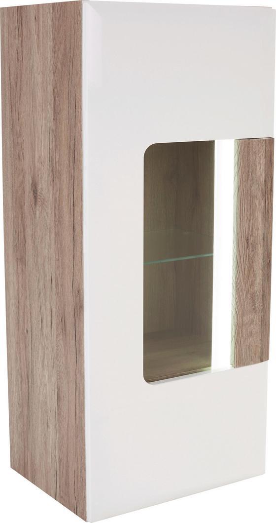 Závesná Vitrína Toronto - farby dubu/biela, Moderný, drevený materiál/sklo (44,9/114,5/35,2cm) - Ombra
