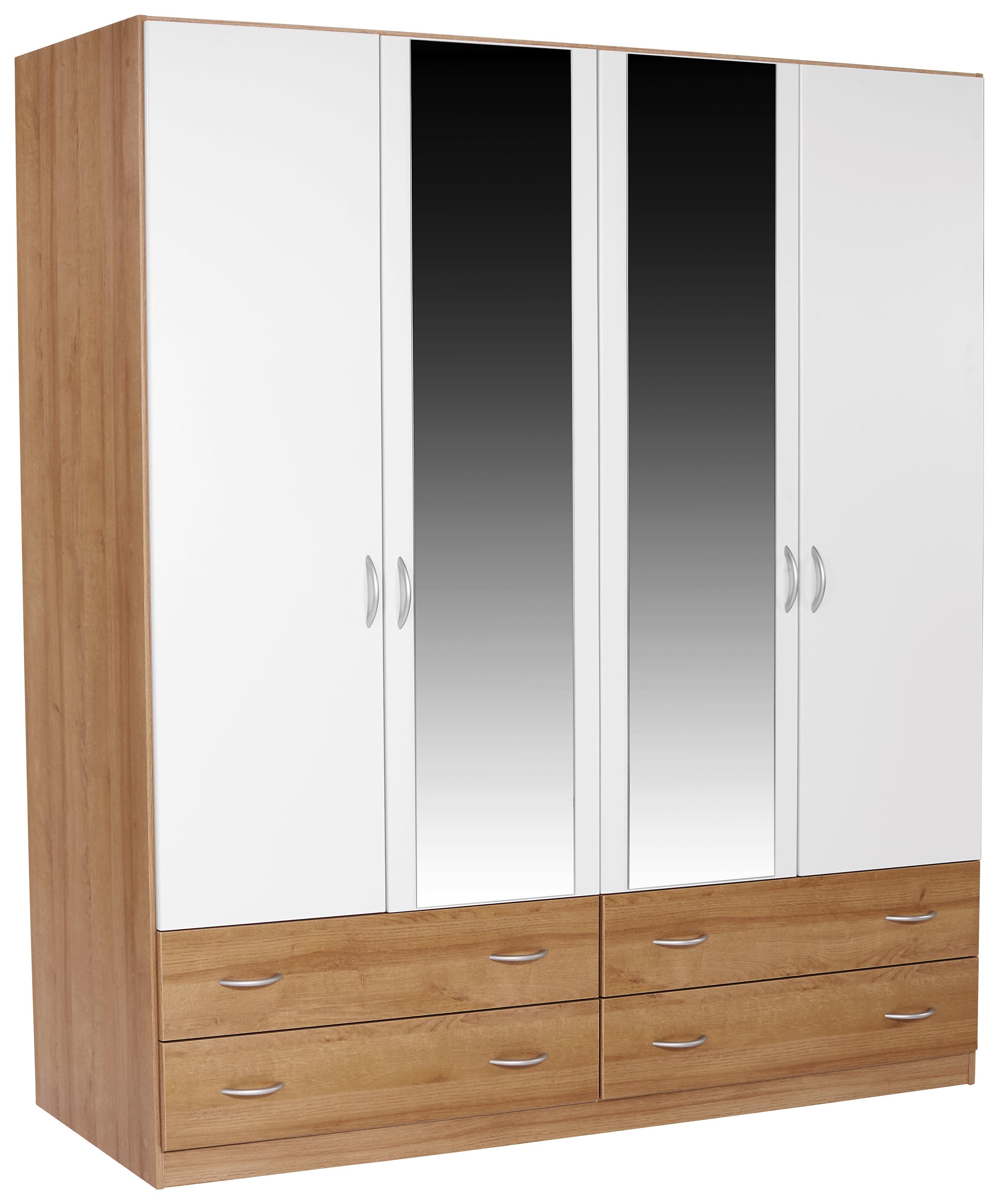 Drehtürenschrank Karo Extra, 4trg, 181cm - Eichefarben/Weiß, KONVENTIONELL, Holzwerkstoff (181/197/54cm)