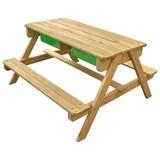 Multifunktionaler Kindertisch inkl. Tafel U. Kunststoffwanne - Naturfarben/Grün, Holz/Kunststoff (90/89/50cm)