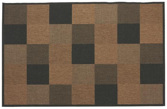 Flachwebeteppich Toskana 80x150 cm - Schwarz/Naturfarben, KONVENTIONELL, Textil (80/150cm)