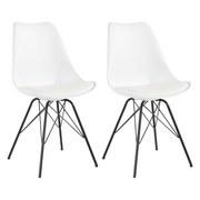 Stuhl-Set Ursel 2-er Set Weiß - Schwarz/Weiß, MODERN, Kunststoff/Metall (48/86/56cm) - MID.YOU