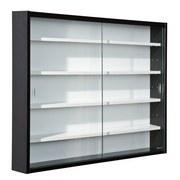 Hängevitrine Collecty B:80cm mit Sicherheitsglas, Schwarz - Schwarz/Weiß, Design, Glas/Holzwerkstoff (80/60/10cm) - MID.YOU