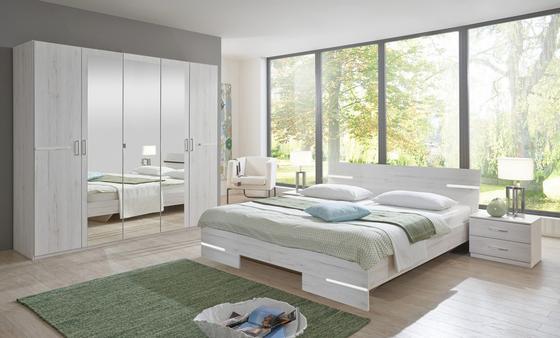 Spálňa Anna 160 - biela, Moderný, drevený materiál/drevo (225/210/58cm)