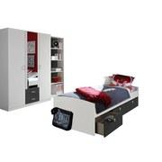 Jugendzimmer Point Weiß/anthrazit - Anthrazit/Weiß, MODERN, Holzwerkstoff