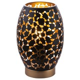 Tischlampe Narri Schwarz/Gold mit Blättermuster - Goldfarben/Schwarz, Basics, Metall (15/23cm)