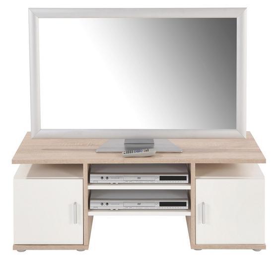 Médiaállvány Eva - tölgy színű/fehér, modern, faanyagok (110/40/40cm)