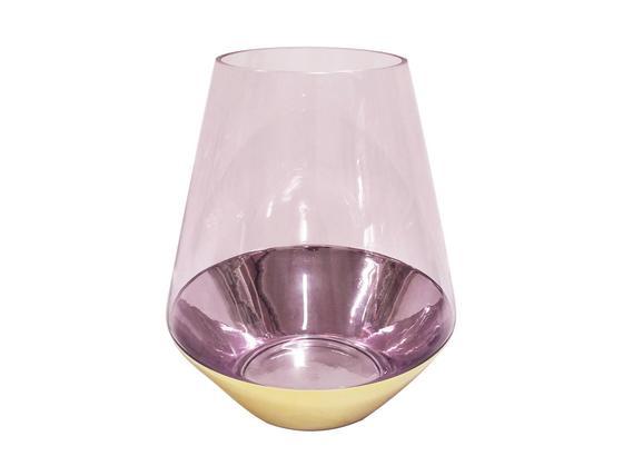 Windlicht Alfia - Pink/Goldfarben, MODERN, Glas (21,5/26cm) - Luca Bessoni