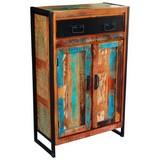 Vitrine Faro B:76cm Massiv, Recyclingholz Multicolour - Multicolor/Schwarz, Basics, Holz/Metall (76/110/35cm)