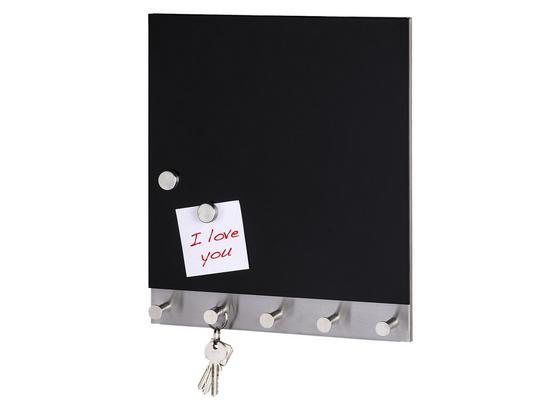 Hakenleiste Black Magnetisch - Edelstahlfarben/Schwarz, MODERN, Glas/Metall (30/34cm)