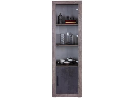 Vitrína Frame - bílá/tmavě šedá, Konvenční, kompozitní dřevo/sklo (56/200/42cm)