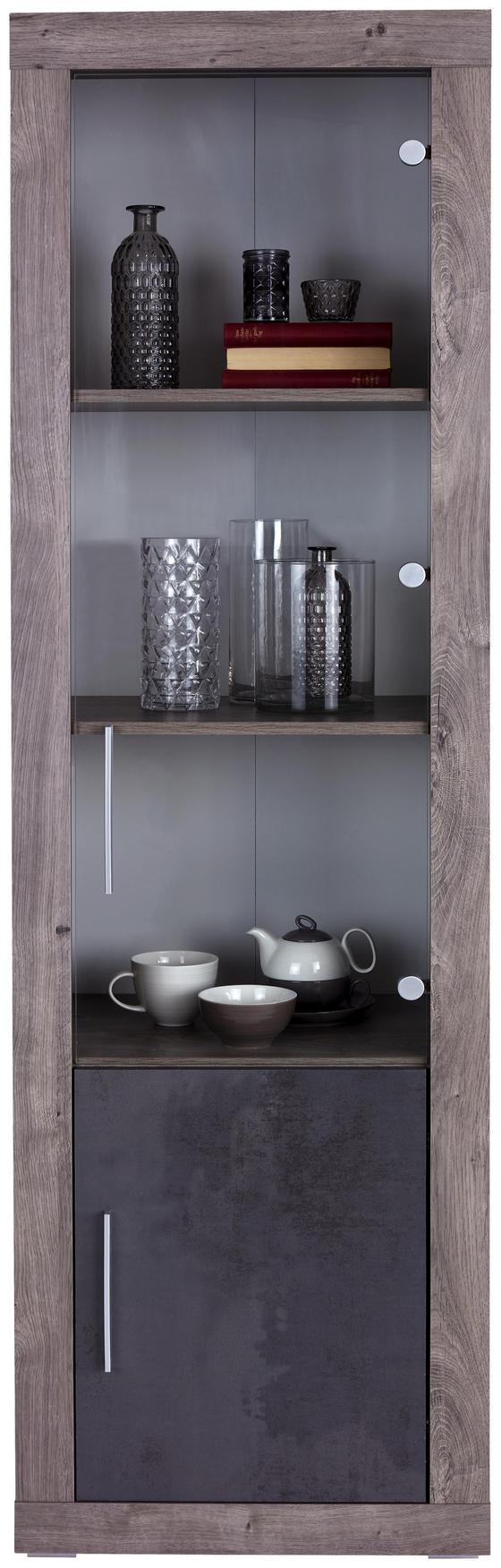 Vitrína Frame - farby dubu/biela, Konvenčný, kompozitné drevo/sklo (56/200/42cm)
