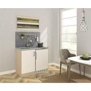 Miniküche B: 100 cm Weiß - Edelstahlfarben/Eichefarben, MODERN, Holzwerkstoff/Metall (100cm) - MID.YOU