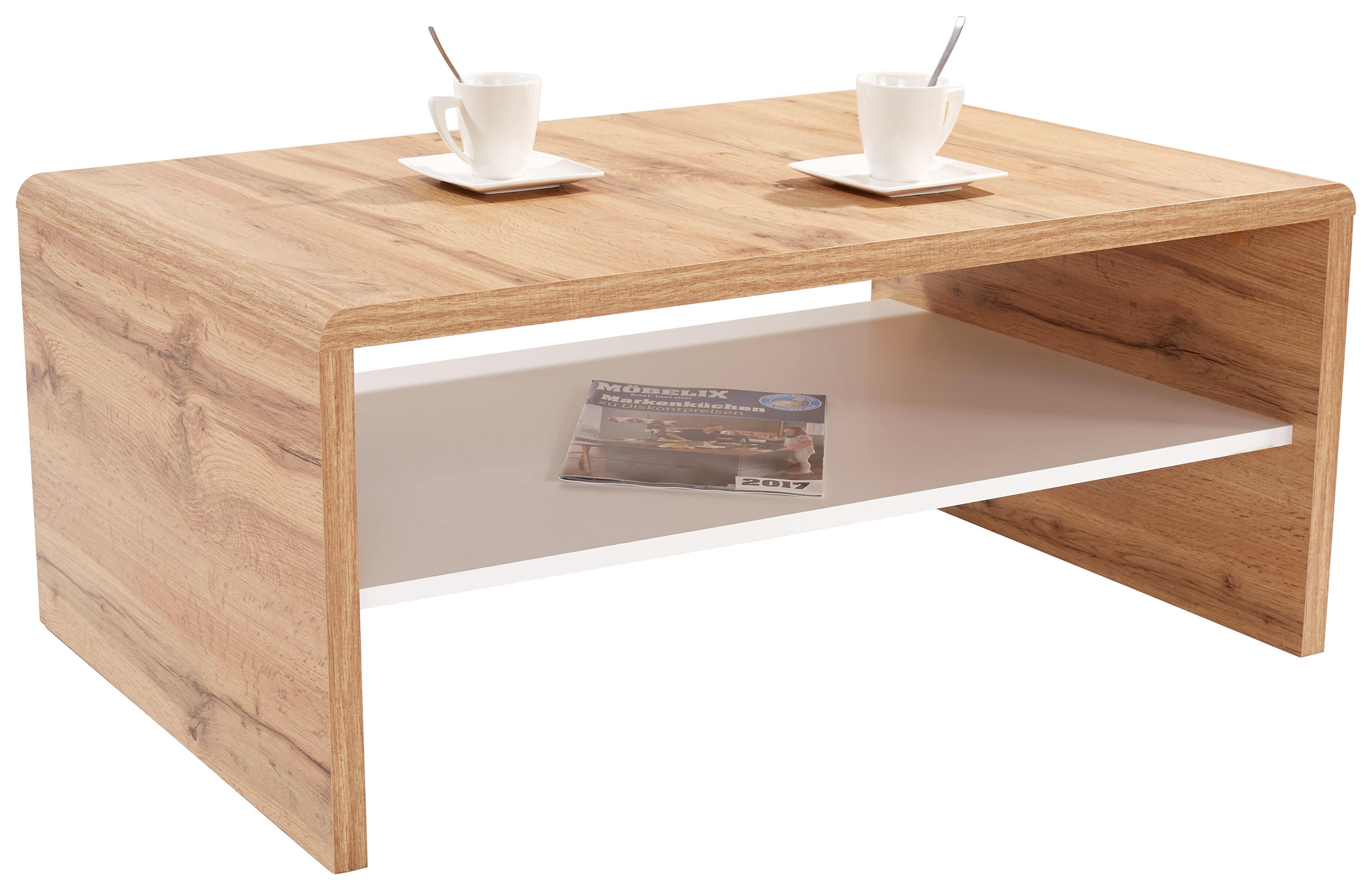 Dohányzóasztal Cala Luna - tölgy színű/fehér, modern, faanyagok (100/40/59cm)
