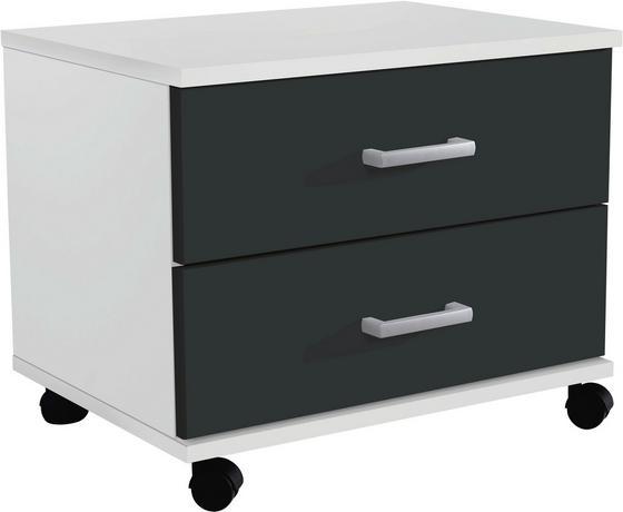 Jugend-rollcontainer Point 50 cm Weiß/anthrazit - Anthrazit/Weiß, MODERN, Holzwerkstoff/Kunststoff (50/41/38cm)