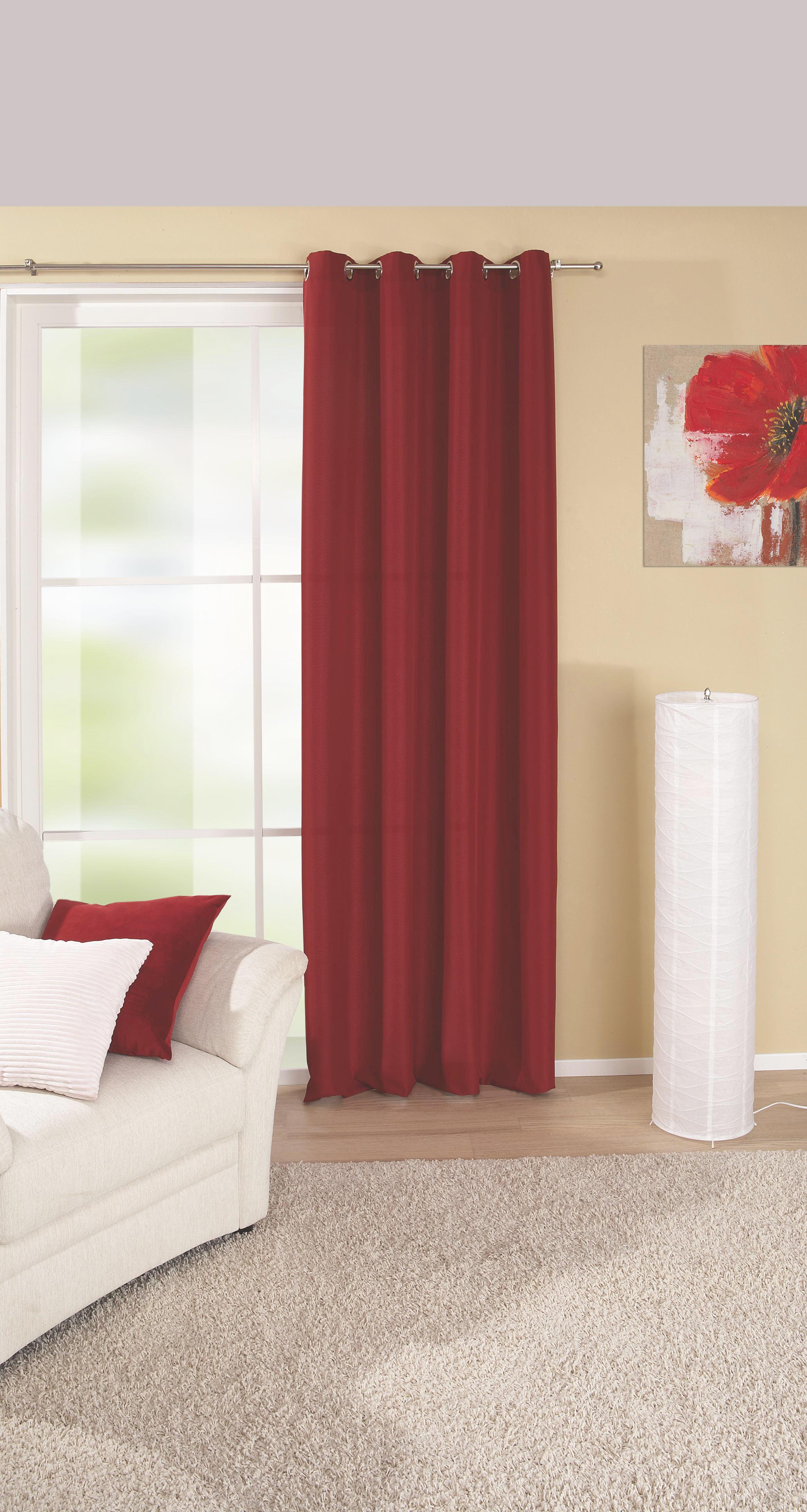 Készfüggöny Ocean - piros, konvencionális, textil (140/245cm) - MÖBELIX
