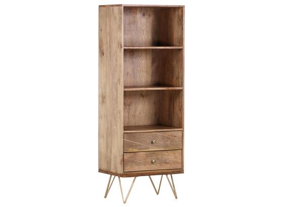 Highboard Scan B: 50 cm - Goldfarben/Naturfarben, Design, Holz/Metall (50/153/43cm)