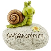 Dekoschnecke Willkommen - Braun/Grau, KONVENTIONELL, Stein (30/22/29cm) - Ombra