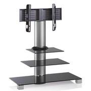 TV-Rack Amalo Mini B: 100 cm - Schwarz/Alufarben, KONVENTIONELL, Glas/Metall (100/107/44cm) - Livetastic