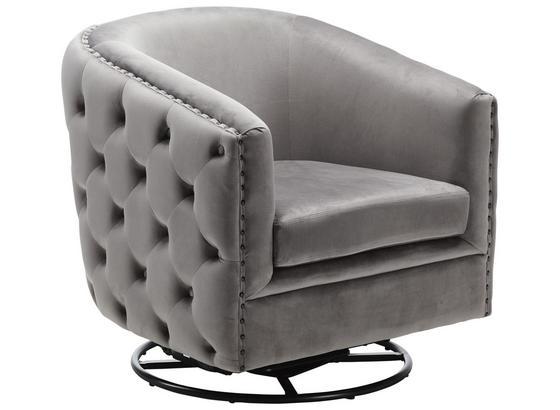 Húpacie A Otočné Kreslo Valerie - čierna/sivá, Štýlový, kov/textil (83/75/80cm) - Premium Living