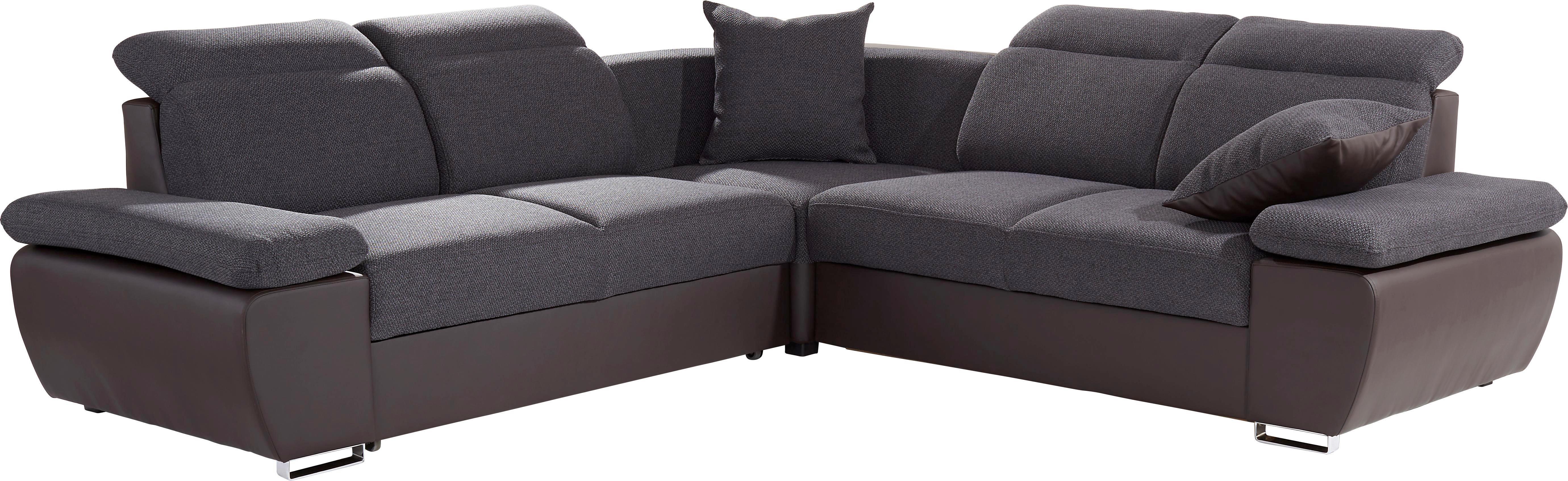 Sedací Souprava Logan - tmavě šedá/hnědá, Moderní, kov/dřevo (270/270cm) - OMBRA