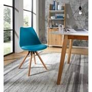 Stuhl Levi Pastellblau - Blau/Eichefarben, MODERN, Holz/Kunststoff (48/81/57cm) - Ombra