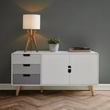 Komoda Daniela - bílá/šedá, Moderní, dřevo (120/60/35cm) - Modern Living