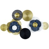 Wanddeko Calla - Blau/Goldfarben, Trend, Metall (73,5/47/6,5cm) - Luca Bessoni