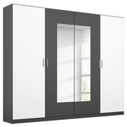 Drehtürenschrank mit Spiegel 226cm Borneo, Weiß/Grau - Basics, Holzwerkstoff (226/210/54cm) - MID.YOU